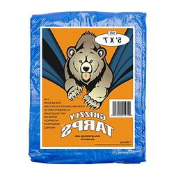 Grizzly Tarps GTRP57 5 x 7-Feet Blue Multi-Purpose 6-Mil Wat
