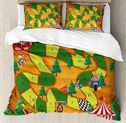 Ambesonne Board Game Duvet Cover Set Queen Size, Circus Them