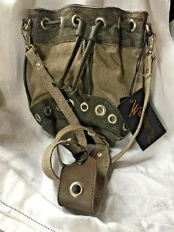 Mona B Bucket Shoulder Bag  NWT Upcycled from Military Tent