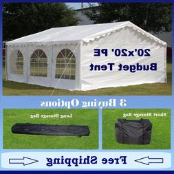 Budget PE Party Canopy-3 Options -20'x20' Tent,Short Bag,and