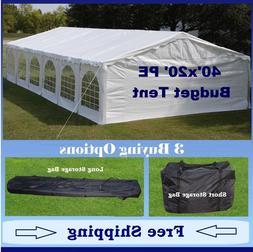 Budget PE Party Canopy - 3 Options - 40'x20' Tent, Short Bag