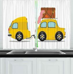 "Camper Kitchen Curtains 2 Panel Set Window Drapes 55"" X 39"""
