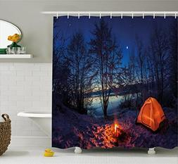 Camper Shower Curtain by Ambesonne, Illuminated Tent in Wint