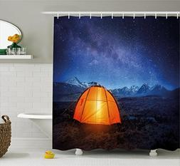Camper Shower Curtain by Ambesonne, A Tent Glows under Night
