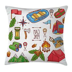 Ambesonne Camper Throw Pillow Cushion Cover by, Camping Life