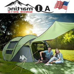 Camping Tent Tarp+4 Person Dome Pop Up Tent Family Instant W