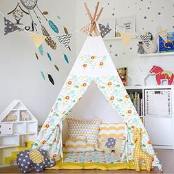 Love Tree Canvas Teepee Children Playhouse Canopy Tent Yello