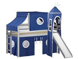 JACKPOT! Castle Low Loft Bed with Slide Blue & White Tent an
