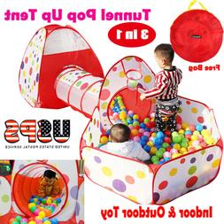 Childrens Toddlers Kids Pop Up Play Tent Tunnel Cubby House
