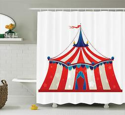 Circus Colorful Striped Tent with Stars Flag Carnival Extra
