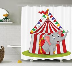 Ambesonne Circus Decor Collection, Illustration of Happy Ele