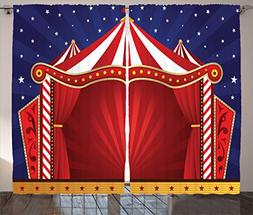 Ambesonne Circus Decor Curtains, Canvas Tent Circus Stage Pe
