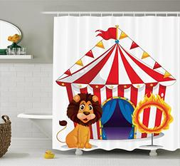 Ambesonne Circus Decor Shower Curtain Set, Lion And A Fire R