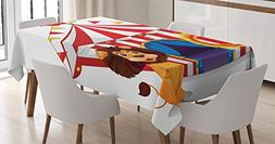 Ambesonne Circus Decor Tablecloth, Lion and a Fire Ring in F