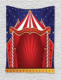 Ambesonne Circus Decor Tapestry Wall Hanging, Canvas Tent Ci