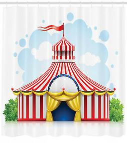 Circus Shower Curtain Striped Tent with Flag Print for Bathr