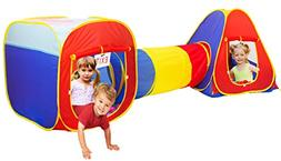 PlayO Colorful 3-Piece Play Tent Set with Crawling Tunnel an
