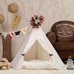 DEWEL Dog Teepee Removable and Washable Pure White Pet Kenne