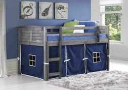 Donco Kids 790Aag_750C-Tb Louver Loft Bed, Twin, Antique Gre