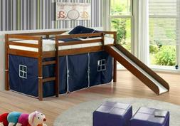 Donco Kids Twin Tent Loft With Slide And Slat-Kits Light Esp
