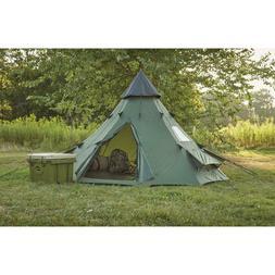 Family Teepee Tent 10'x10' Green Guide Gear Center Zip Door