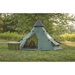Family Teepee Tent 10'x10' Sleeps 6 People, Green Guide Gear