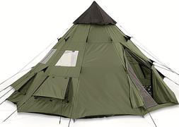 Family Teepee Tent 10x10 Sleeps 6 People Green Camp Army She