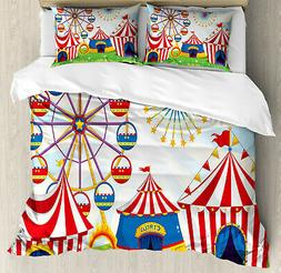 Ferris Wheel Duvet Cover Set Queen Size Striped Tents with 2