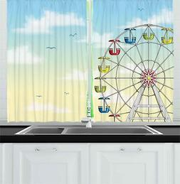 Ferris Wheel Kitchen Curtains 2 Panel Set Window Drapes 55""