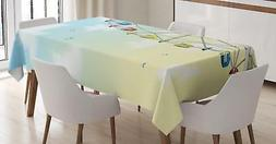 Ferris Wheel Tablecloth by Ambesonne 3 Sizes Rectangular Tab