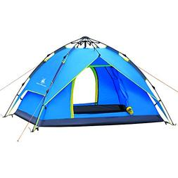 HUI LINGYANG Outdoor Four Person Easy Pop Up Camping Tent -
