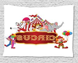 Ambesonne Fun Tapestry Circus Decor, Cute Happy Fun Trained