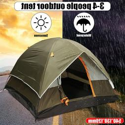 Green 3-4 Person Waterproof Camping Tent Double Layer Family