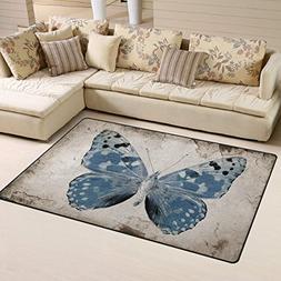 Huishe1 Grunge Vintage Blue Butterfly Doormat Entrance Mat F