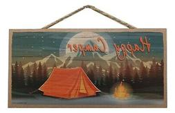 "HAPPY CAMPER Tent Camping Primitive Wood Hanging Plaque 5"" x"