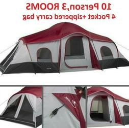 Instant Camping Cabin Tent For 10 Person 3 Rooms Family Outd
