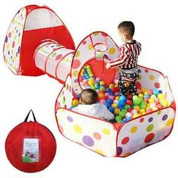 Kids Ball Pool Play Crawl Tunnel Set 3 in 1 Ball Pit Tent wi