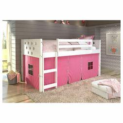 Donco Kids Louvre Low Captain's Loft Pine Wood Twin Bed with