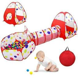 Kids Tent with Tunnel and Ball Pit Play House for Boys Girls