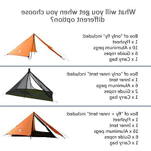 Geertop 1 Person 3 Season 20D Ultralight Backpacking Tent for Camping Hiking Climbing
