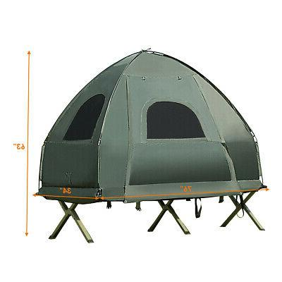 1-Person Portable Tent Cot w/ Mattress