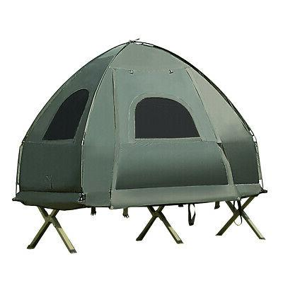 1-Person Compact Portable Pop-Up Tent Cot w/ Air Mattress &
