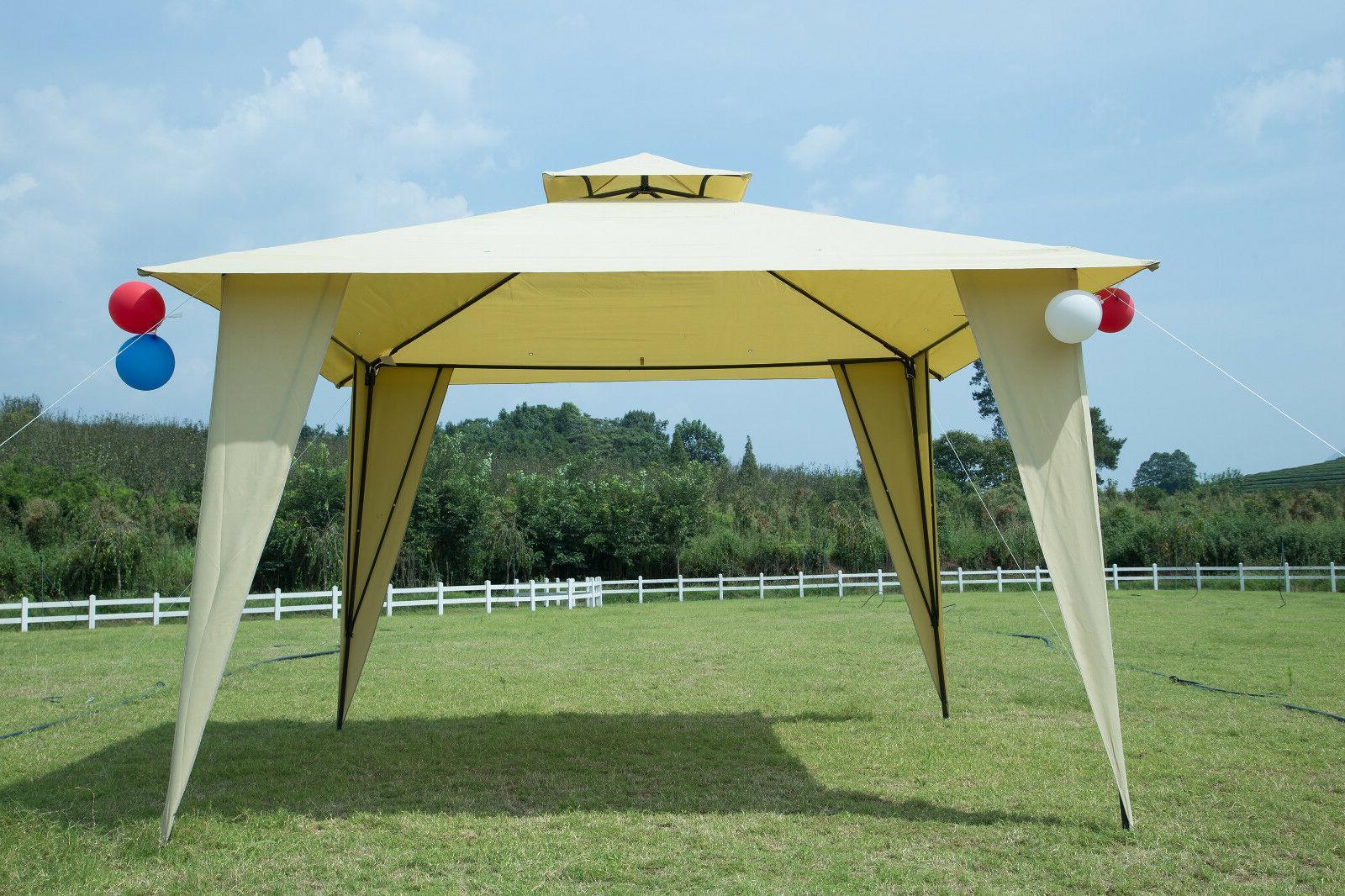 12x12 Garden Metal Gazebo Patio 2-tier Yard Canopy