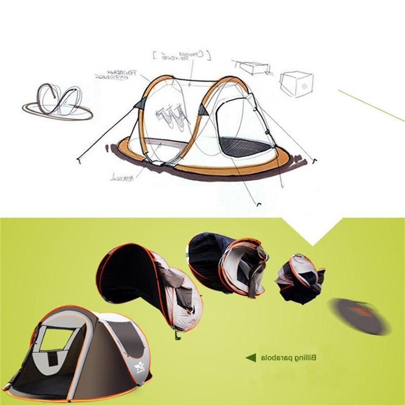 2-8 Camping <font><b>Tent</b></font> Automatic Pop-up <font><b>Tent</b></font> Family Outdoor Instant Setup 4 Season