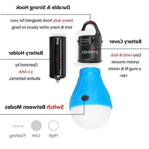 2 Pack/4 Compact LED Lantern Tent Camp Light Camping