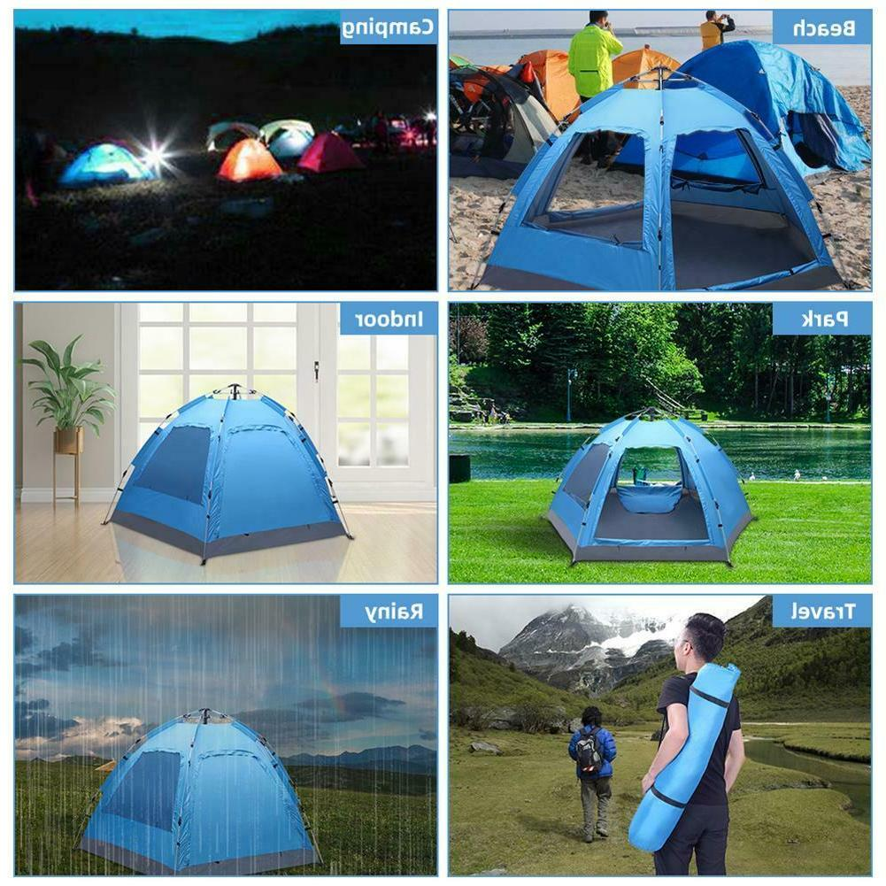 3-4 Person Automatic Instant Pop-Up Camping Tent Double Layer Hiking