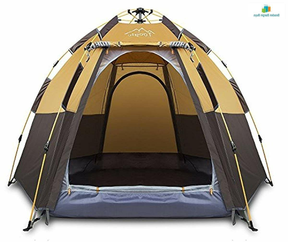 Toogh 3-4 Person Camping Backpacking Dome Tent Hexagon Water