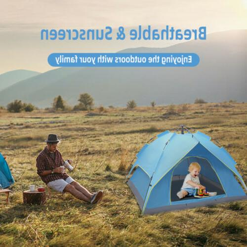 3-4 Camping Waterproof Up Tent Blue