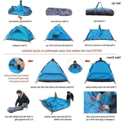 4-5 Waterproof Pop Tent Camping Hiking Picnic Shelter