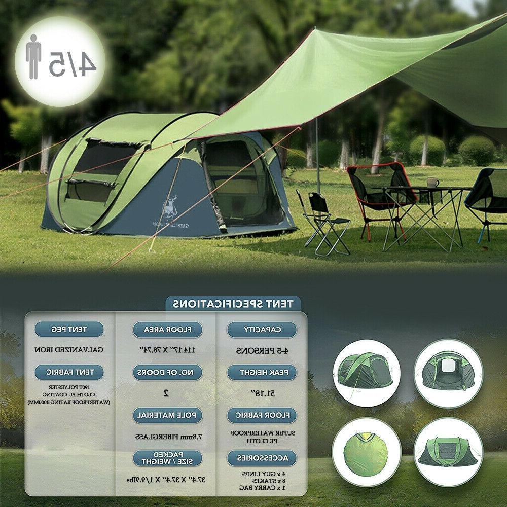 4 Camping Tent Pop Waterproof Canopy Green